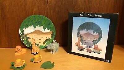 Vintage 1997 Jungle Miniature Tea Set In Original Box Young's Lion-Giraffe-More