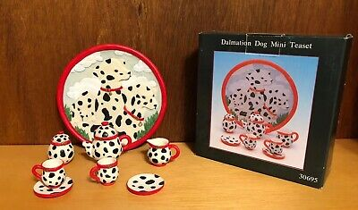 Vintage 1996 Dalmatian Dog Miniature Tea Set In Original Box Young's