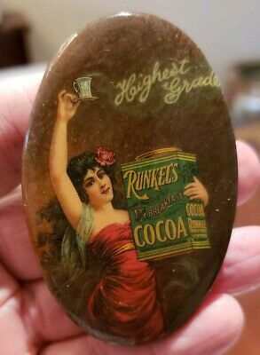 *Early 1900's RUNKEL'S COCOA Pocket Advertising Mirror