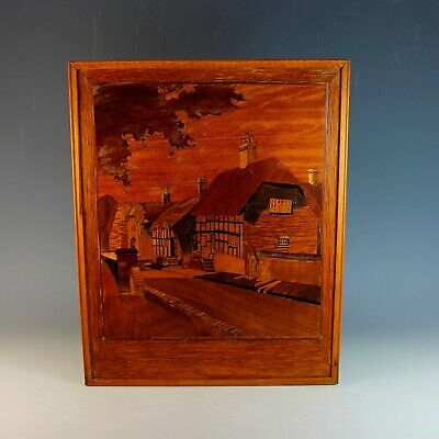 Antique Wood Marquetry Ornate Panel - Village Scene Tranquility