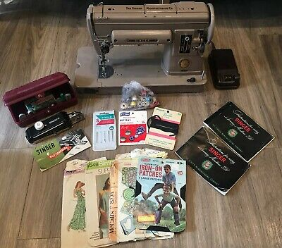 1952 Vintage Singer 301 Sewing Machine Foot Pedal Button Maker Extras Working