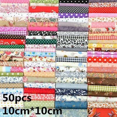 50PC Mixed Cotton Fabric Material Sewing Value Bundle Scraps Offcuts Quilting