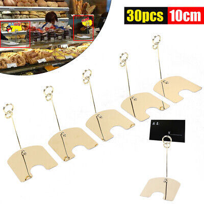 30PC Flat Base DIY Stainless Wire Card Picture Memo Photo Clip Holder Party Gold
