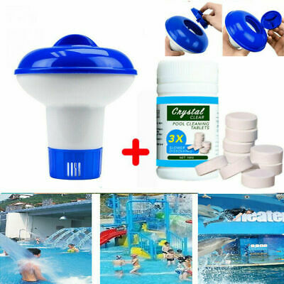 100 Tablets Pool Cleaning Tablet Floating Chlorine Hot Tub Chemical Dispenser