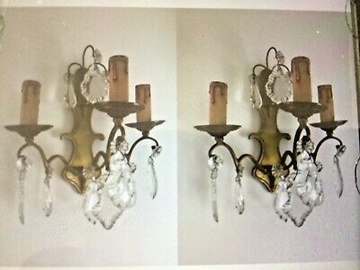* Pair Antique French Ornate Crystal 3 Arm Candle Sconce Electric Wall Lights