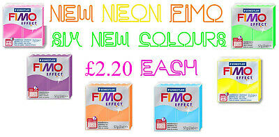57g Block Of FIMO Effect Neon Polymer Clay Modelling Jewellery Craft Art Tumdee