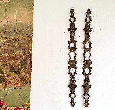 Antique escutcheon pair Scroll leaf Salvaged keyhole plate Furniture door 6.73""