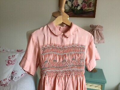 Vintage 1950's smocked girls dress traditional classic