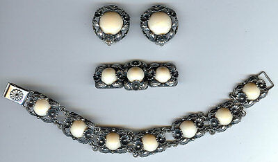 Ne de Danemark Vintage Argent Sterling Fleur Feuilles Bracelet Pin Earrings Set