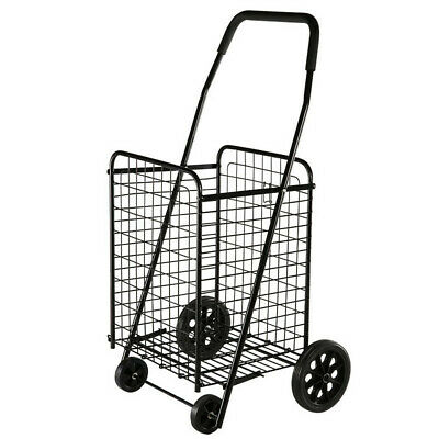 NEW Utility Shopping Cart Foldable Jumbo Basket Outdoor Grocery Laundry w/Wheels