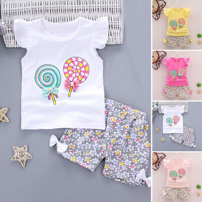 Baby Toddler Kids Girl Round Neck T-shirt Tops+Shorts Outfits Clothes 2pcs/Set