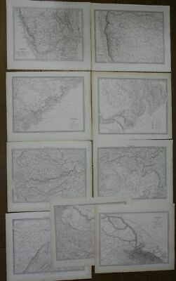 9 detailled maps of India by Walker 1831-1834