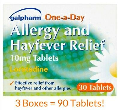 90 TABLETS - HAYFEVER & ALLERGY RELIEF - LORATADINE 10mg URTICARIA - ITCHY RASH