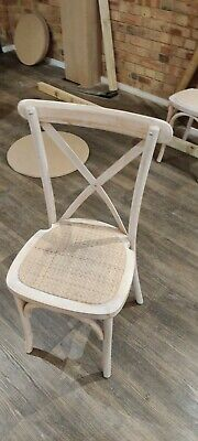 Cross Back Dining Chair, Cafe, Restaurant, Kitchen, Distressed Cream