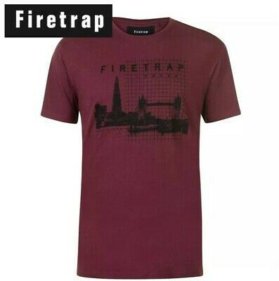 Mens Firetrap Crew Neck Print Casual Sub Vest Top Sizes from S to XXL