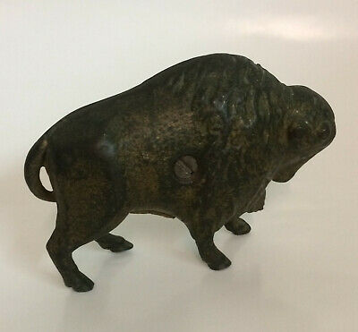 Antique AMERICAN BUFFALO / BISON HEAVY CAST IRON STILL BANK - Art Smithy?