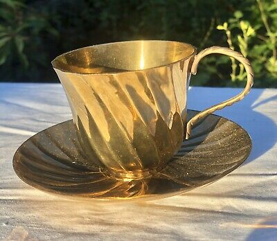 Antique Brass Gold Colour Ornate Teacup Tea Cup And Saucer