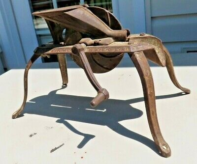 Rare antique primitive cast iron footed hand crank cherry seeder retro kitchy
