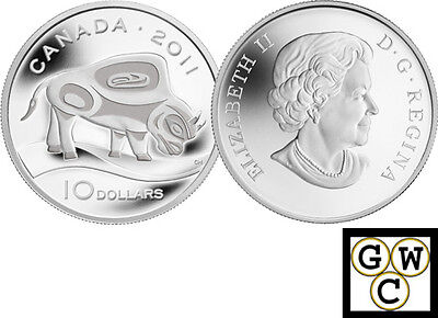 2011 'Wood Bison' Proof $10 Silver .9999 Fine Coin (12908) (NT)