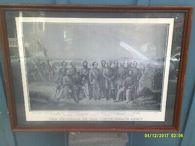 VTG Etching The Generals of the Confederate Army Lee,Stuart,Hill,Bragg,Polk
