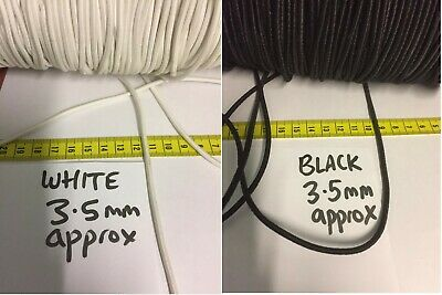 Elastic Cord 3.5 mm approx sold in lengths Metres Black White STRETCH round UK