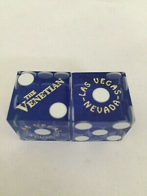 Pair of VENETIAN LV Casino Dice - Clear Blue, Matching #s