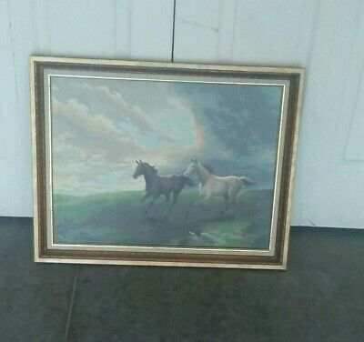 Vintage Completed Paint By Number Running Horses