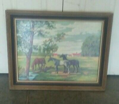 Vintage Completed Paint By Number Horses Grazing