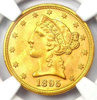 1895 Liberty Gold Half Eagle $5 Coin - NGC MS64+ Plus Grade - $1,200 Value!