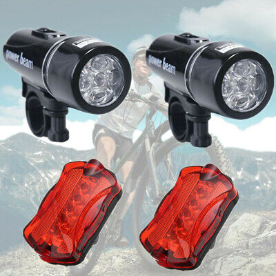 2Set Bike Light Head + Tail Lights 5 LED Lamp Safety Alarm Bicycle Cycle Cycling
