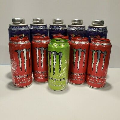11 MONSTER CANS empty * ships internationally * ULTRA Violet / Red / Paradise