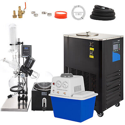 5L Rotary Evaporator Complete Turnkey Package w/ Water Vacuum Pump & Chiller