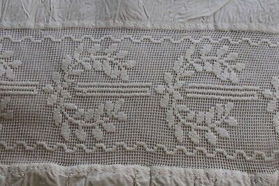 Vintage Snowy White Cotton Pillow Covers 33x40 Inset Embroidery on Net Ribbon