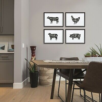 Kitchen Dining Wall Art Poster Black and White Food Prints Beef Lamb Pictures
