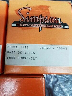 Lot of 5   NOS    SIMPSON PANEL METER  Model 1212