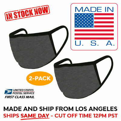 2 Pack Washable Reusable Cotton Face Mask Double Layer DARK GREY, MADE IN USA