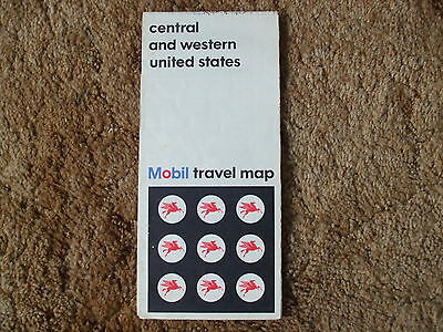 Vintage Mobil Central & Western United States Travel Map