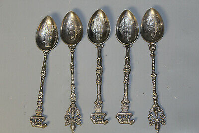 Lot of 5 Vintage Small Ornate Souvenir Spoons of Rome