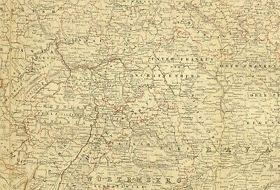 1873 Hand Coloured Map Empire Of Germany South West ~ Wutemberg Bavaria
