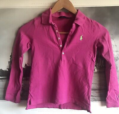 Ralph Lauren Polo Girls Pink Long Sleeved Polo Shirt Size S (7) Years