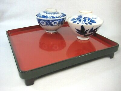 Vintage Japanese Meiji Era 100Yr Old  Black & Red Lacquer Obon Tray ~