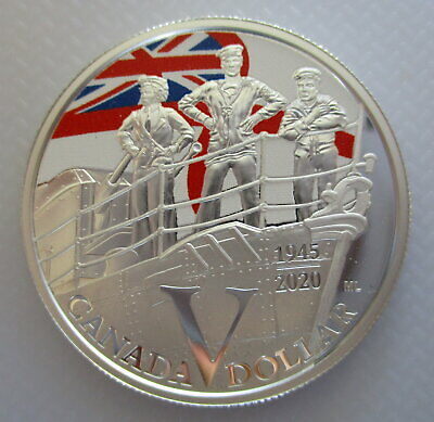 Canada 2020 $1 Navy Ve Day 75Th Anniversary 99.9% Proof Silver One Dollar Coin