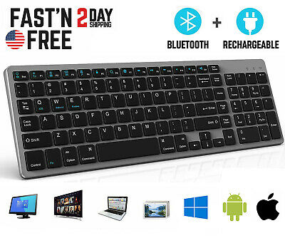 Rechargeable Bluetooth Wireless Keyboard PC Mac Apple iPhone iPad Tablet Android
