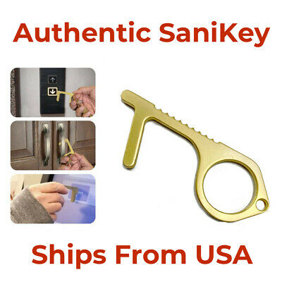 SaniKey Contact Less Door Key Opener Button Push No Touch Safety Keychain OEM