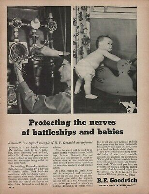 1943 B.F. Goodrich Koroseal Protecting the Nerves Of Battleships & Babies Ad