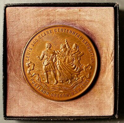 OFFICIAL MEDAL OF THE 1905 LEWIS & CLARK EXPOSITION, LARGE BRONZE 64mm WITH BOX
