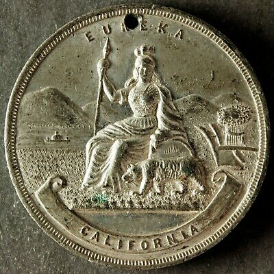 HK UNLISTED 1890 CALIFORNIA 40th ANNIVERSARY ADMISSION DAY WHITE METAL 38.2MM