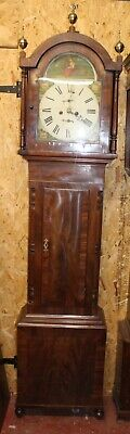 1850's 8 Day Mahogany Grandfather Clock Painted Face Country Scene