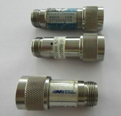Lot of 3 N Type RF coaxial fixed attenuators. HP 8491A / Midwest microwave +