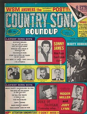 Country Song Roundup August 1966 Roger Miller Marty Robbins Sonny James